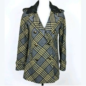 Field Flower Houndstooth Checker Military Peacoat